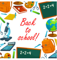 back to school education background poster vector image vector image