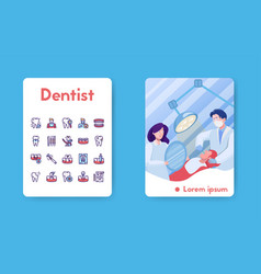 Banner dentist with linear icons set vector