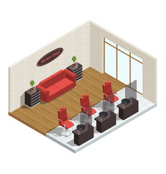 Barber shop isometric interior vector