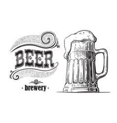 Beer mug filled with vintage vector