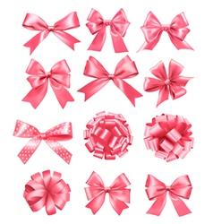Big set of pink gift bows and ribbons vector image