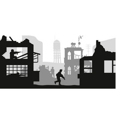 Black military silhouettes soldiers assault house vector