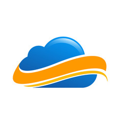blue cloud tech logo vector image