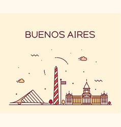 Buenos aires skyline argentina linear city vector