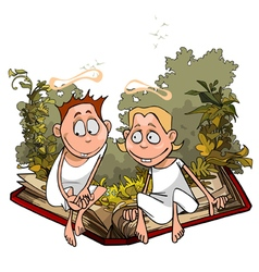 Cartoon angels in plants are sitting vector