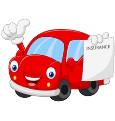 Cartoon car holding insurance paper and giving thu vector