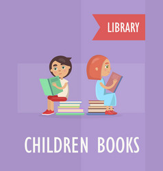 children books section at library vector image