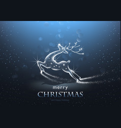 christmas background with starry deer vector image