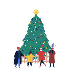 Christmas holiday outdoor celebration flat vector