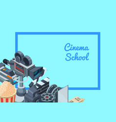 cinematograph isometric elements set vector image