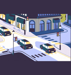 City view with cars driving along road modern vector