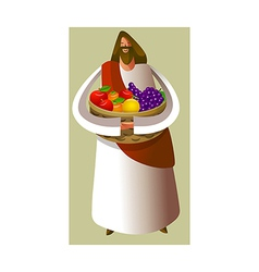 Close-up of Jesus Christ holding fruit basket vector