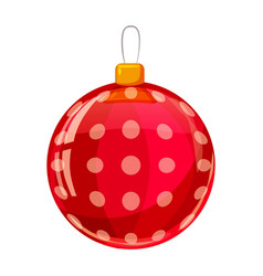 colour decorated christmas red ball isolated on vector image