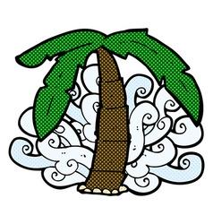 comic cartoon palm tree symbol vector image