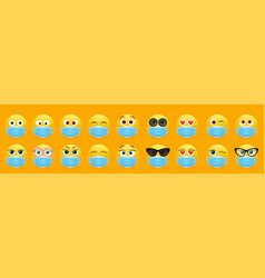 Corona virus face mask emoji set isolated vector