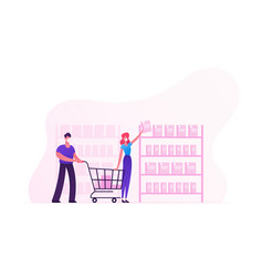 couple purchase in store take products from shop vector image