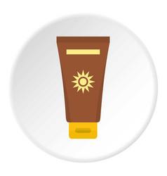 Cream sun protection icon circle vector