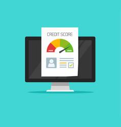 credit score online report document on computer vector image