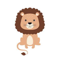 cute card of cartoon lion isolated on white vector image