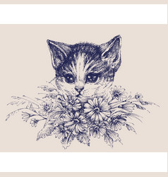 cute cat portrait with a bunch flowers vector image