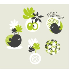 Design elements with birds and flowers vector