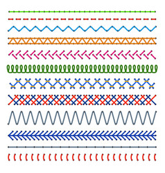 Detail stitched seamless patterns color sewing vector