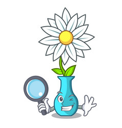 detective character cartoon glass vase with vector image