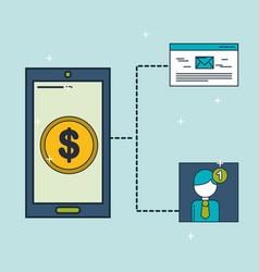 Digital marketing phone money email notification vector