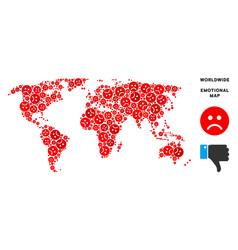 Dolor world map mosaic of sad smileys vector