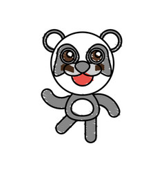drawing panda animal character vector image