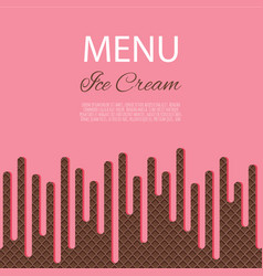 dripping pink ice cream flowing over waffle vector image