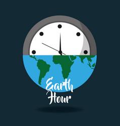 Earth hour globe save energy world card vector