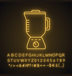 Electric blender with glass pitcher neon light vector
