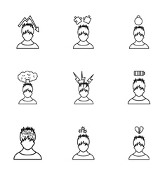 Emotional feelings icons set outline style vector