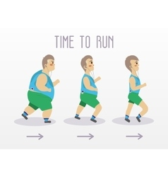 Fat man running to slim shape Sport and fitness vector
