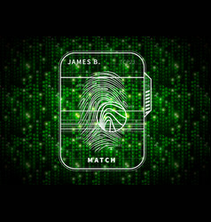 fingerprint scan futuristic concept on abstract vector image