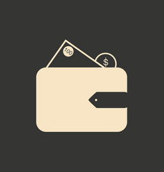 Flat in black and white purse with money vector