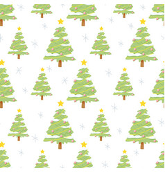 flat style green christmas tree seamless pattern vector image