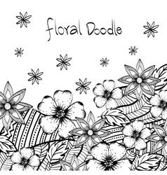 Floral design Doodle white vector image