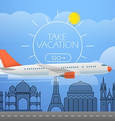 Flying aircraft in the sky Vacation concept vector