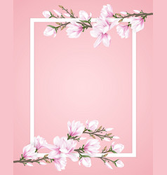 Frame decorated with flower branches vector