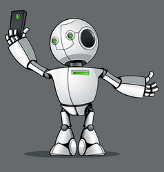 Funny kid robot does selfie on the phone vector