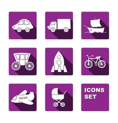 Funny transport icons set vector