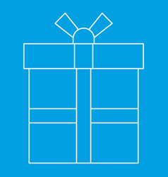 Gift box icon outline style vector