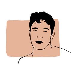 Hand draw outline portrait an caucasian white vector