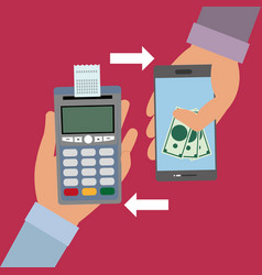 Hand with dataphone with receipt and smartphone vector