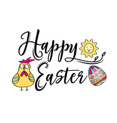 happy easter greeting text decorate with sun vector image