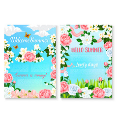 Hello summer cartoon poster set with rose flowers vector