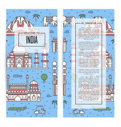 India traveling flyers set in linear style vector