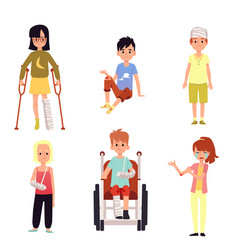 Injured kid set - children with injury isolated on vector
